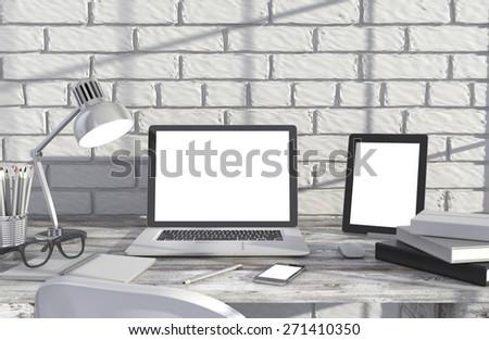 3D illustration laptopand work stuff on table near brick wall, Workspace - stock photo