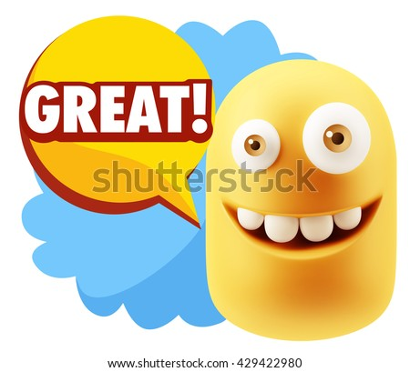 3d Illustration Laughing Character Emoji Expression saying Great with Colorful Speech Bubble.