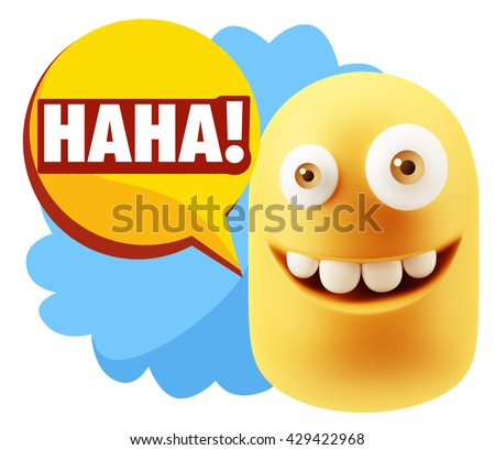 3d Illustration Laughing Character Emoji Expression saying Hahaha with Colorful Speech Bubble.