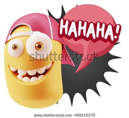 3d Illustration Laughing Character Emoji Expression saying Hahaha with Colorful Speech Bubble. - stock photo