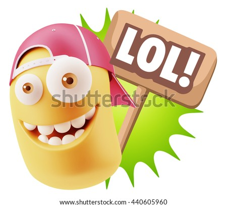 3d Illustration Laughing Character Emoji Expression saying Lol with Colorful Speech Bubble - stock photo
