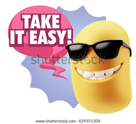3d Illustration Laughing Character Emoji Expression saying Take It Easy with Colorful Speech Bubble. - stock photo