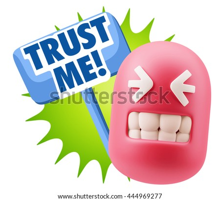 3d Illustration Laughing Character Emoji Expression saying Trust Me with Colorful Speech Bubble