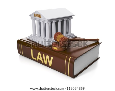 3d illustration: Legal assistance. The legal situation of the banks, the violation of the law