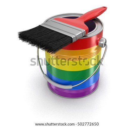 3D Illustration. LGBT Paint can with brush. Image with clipping path