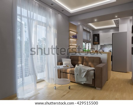 3d illustration living room and kitchen interior design. Modern studio apartment in the Scandinavian minimalist style - stock photo