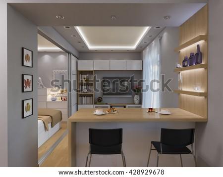 Studio apartment stock images royalty free images for Minimalist studio apartment interior design