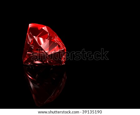 3d illustration looks red ruby on black background