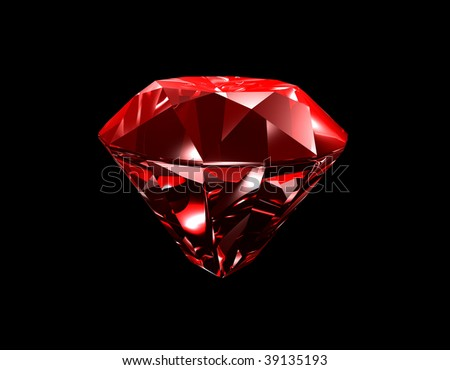 3d illustration looks red ruby on black background.
