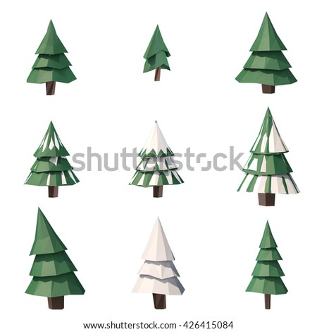 3d Illustration Low Poly Tree Pine Stock Illustration 426415084 ...