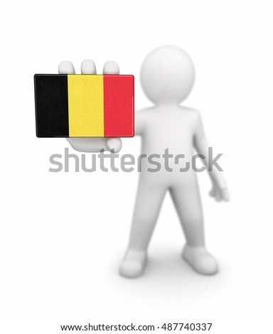3D Illustration. Man and Belgian flag. Image with clipping path