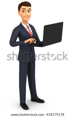 3d illustration. Man with laptop on a white background.