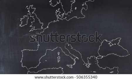 3d illustration map of Europe painted on a blackboard