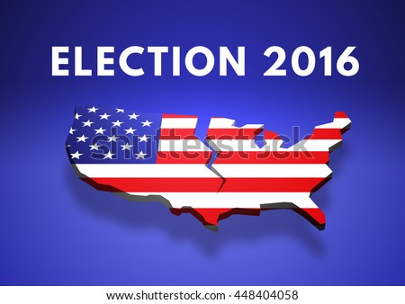 3d Ilration Map Of Us Being Torn Apart From Voters Opinion With The American Flag