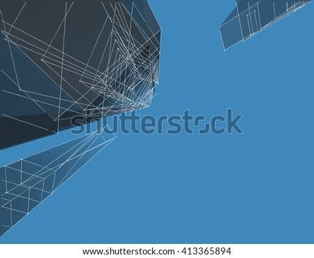 3d illustration, metropolis, abstract architecture - stock photo