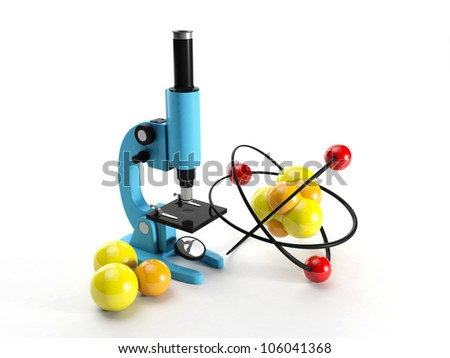 3d illustration: Microscope and nuclear lattice. Research discovery