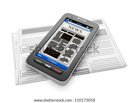 3d illustration: Mobile technology. Mobile news, phone and newspaper with news