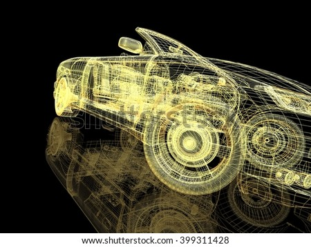 3D illustration model cars - stock photo
