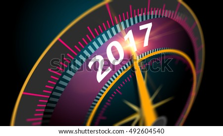3D Illustration, Modern virtual speedometer showing in year 2017. celebration concept blurred background at high speed.
