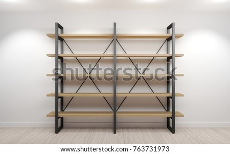 Modern Wardrobe Or Bookcase In The Loft. The Interior Of The Room
