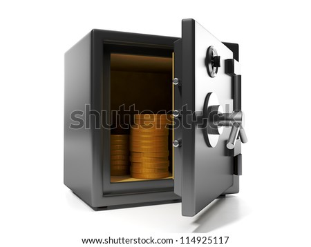 3d illustration: Money savings. Group of coins in the safe keeping money safe protection