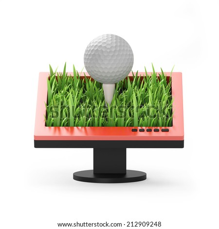 3d illustration: Monitor with a golf ball on a white background - stock photo