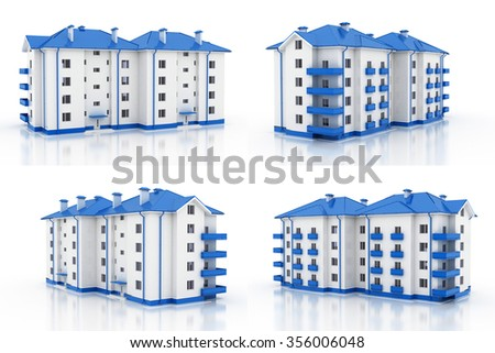 3d illustration. Multi-storey building, the architecture. 4 views. Blue style. - stock photo