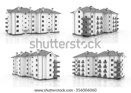 3d illustration. Multi-storey building, the architecture. 4 views. Gray style - stock photo