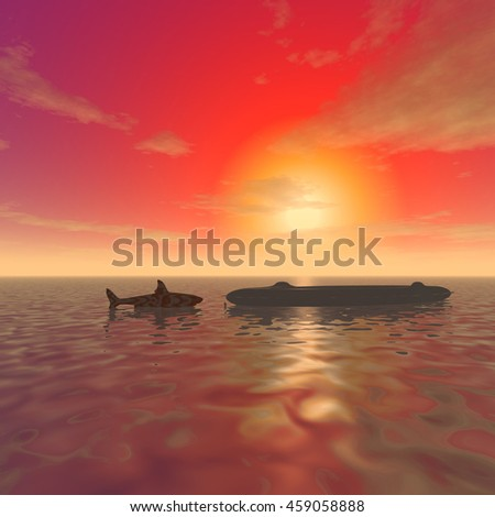 "3d illustration: ""Mysterious and inflatable shark in the ocean at sunset"""