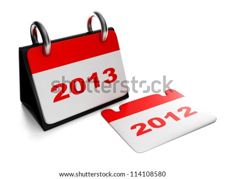 3d illustration: New Year. Changing the years 2012 to 2013 calendar isolation sheet - stock photo
