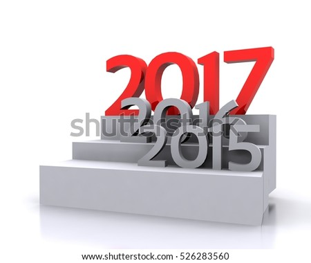 3D Illustration - New Year coming 2017