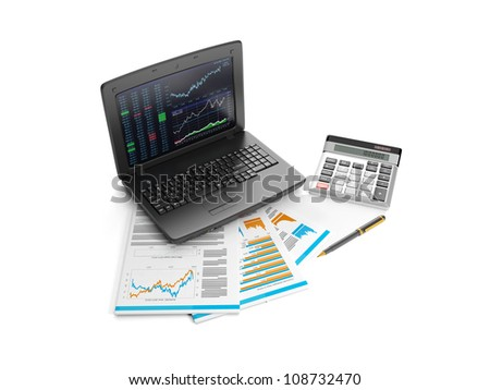 3d illustration: Notebook, calculator and business lists. Accounting data analysis. business Idea - stock photo