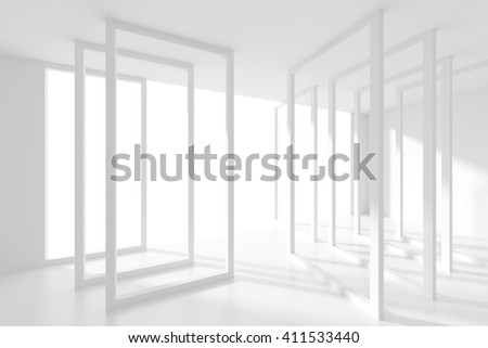 3d Illustration od Abstract  Interior Background. White Room with Window