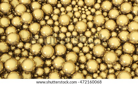 3D illustration of a background of golden spheres