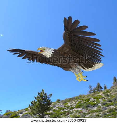 3D illustration of a bald eagle and sky