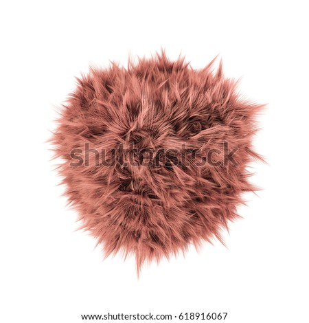 3d illustration of a ball of fur isolated on white background