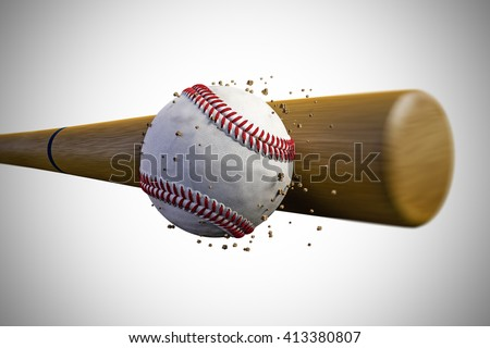 3d illustration of a baseball bat smashing a baseball ball