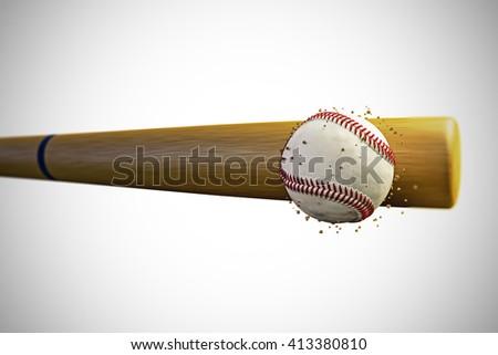 3d illustration of a baseball bat smashing a baseballball - stock photo