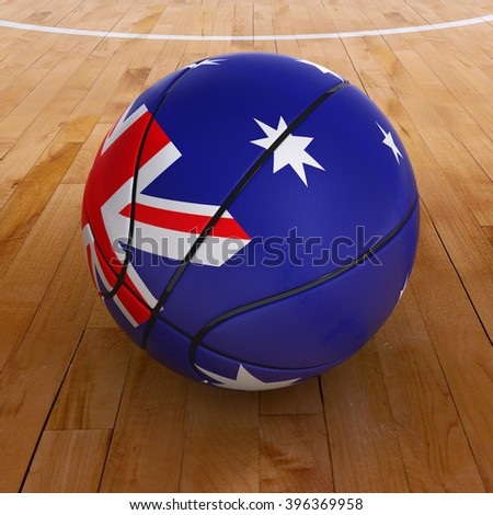 3D illustration of a basket ball with Australia flag on basketball court. - stock photo