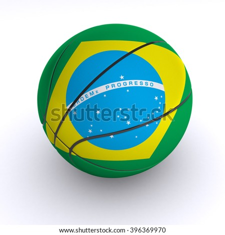 3D illustration of a basket ball with Brazil flag on white.