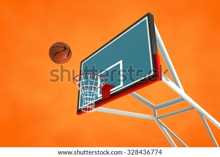 3d illustration of a basketball hoop and ball - stock photo