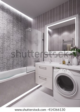 3D illustration of a bathroom in a modern classical style. - stock photo