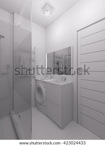 3D illustration of a bathroom in a modern style.