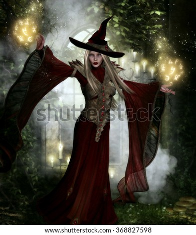 3D illustration of a beautiful Crimson Witch.  Dressed in a long flowing red gown with gold armor and a witches hat and holding a glowing spell ball in each hand.  Candles & foliage in the background.
