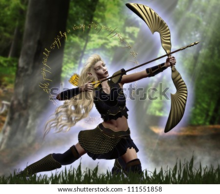 3d illustration of a beautiful elven female archer with long blond hair holding a golden bow and getting ready to shoot an arrow.  She is kneeling in a wooded forest with light beams coming down. - stock photo