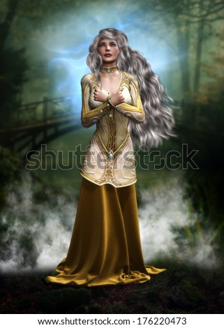 3D Illustration of a beautiful female elf with long hair and a golden gown in front of a bridge in the forest with mist rising all around.