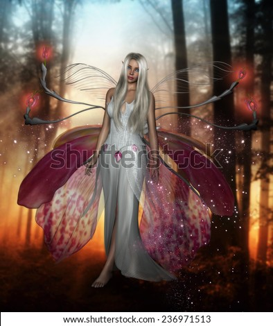 3D illustration of a beautiful female fairy with long silver hair and wings made from orchid petals walking in a forest.