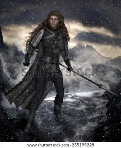 3D Illustration of a beautiful female warrior with long curly brown hair holding a spear and standing on a snowy mountainside.