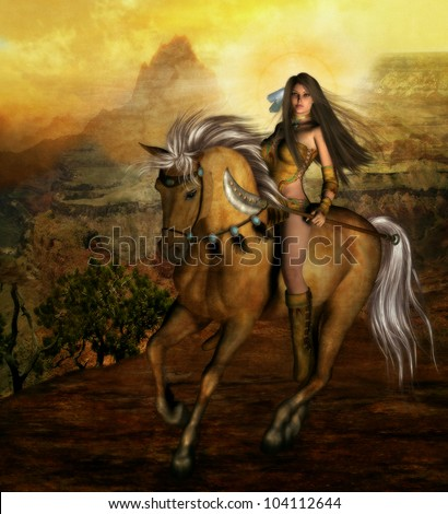 3D Illustration of a beautiful Indian girl riding a buckskin horse with a desert canyon background. - stock photo