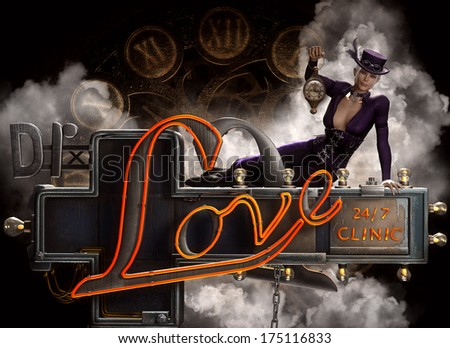 3D Illustration of a beautiful Steampunk female sitting on a neon Dr. Love sign with clocks and steam in the background.